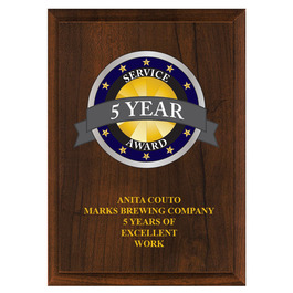 Full Color Award Plaque - Cherry Finish