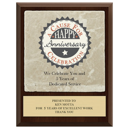 Full Color Award Plaque  - Cherry Finish w/ Tumbled Stone Tile & Engraved Plate
