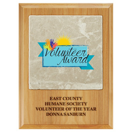 Full Color Award Plaque  - Red Alder w/ Tumbled Stone Tile