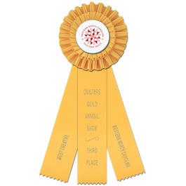 Luxury Rosette Award Ribbon w/ 3 Streamer Printing