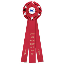 Wheaton Rosette Award Ribbon w/ 3 Streamer Printing