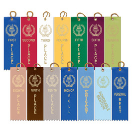 Stock Victory Torch Square Top Award Ribbon