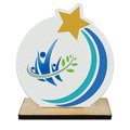 Rising Star Shape Birchwood Award Trophy w/ Natural Birchwood Base