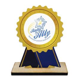 Birchwood Rosette Award Trophy w/ Natural Birchwood Base