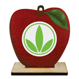 Birchwood Apple Award Trophy w/ Natural Birchwood Base