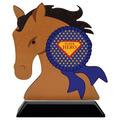 Horse Head Shape Birchwood Award Trophy w/ Black Base