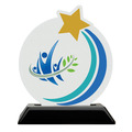 Rising Star Shape Birchwood Award Trophy w/ Black Base