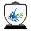 Shield Shape Birchwood Award Trophy w/ Black Base