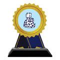 Rosette Shape Birchwood Award Trophy w/ Black Base