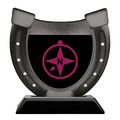Horseshoe Shape Birchwood Award Trophy w/ Black Base
