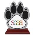 Paw Print Shape Birchwood Award Trophy w/ Rosewood Base