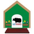 Dog House Shape Birchwood Award Trophy w/ Rosewood Base