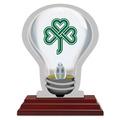 Light Bulb Shape Birchwood Award Trophy w/ Rosewood Base