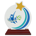 Rising Star Shape Birchwood Award Trophy w/ Rosewood Base