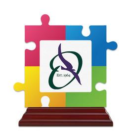 Birchwood Puzzle Pieces Award Trophy w/ Rosewood Base