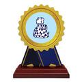 Rosette Shape Birchwood Award Trophy w/ Rosewood Base