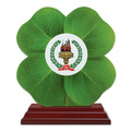 Clover Shape Birchwood Award Trophy w/ Rosewood Base