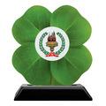 Clover Shape Birchwood Award Trophy w/ Black Base