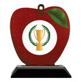 Apple Shape Birchwood Award Trophy w/ Black Base
