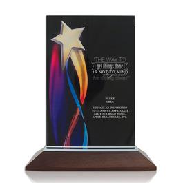 Streaming Star Black Acrylic Trophy w/ Walnut Base