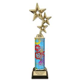 "12"" Black HS Base Award Trophy w/ Custom Column"