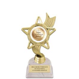 "5-1/2"" White HS Base Award Trophy w/ Insert Top"