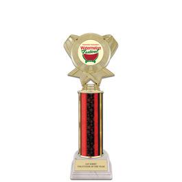 "11"" White HS Base Award Trophy w/ Insert Top"