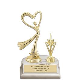 """5-1/2"""" White HS Base Award Trophy w/ Trim"""