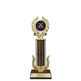 "12"" Walnut Finished Award Trophy w/ Wreath & Insert Top"