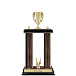 """15"""" Walnut Finished Award Trophy w/ Trim"""
