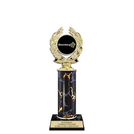 """10"""" Black Faux Marble Award Trophy w/ Insert Top"""