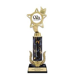 """12"""" Black Faux Marble Award Trophy w/ Wreath & Insert Top"""