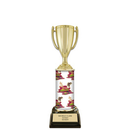 "10"" Black HS Base Award Trophy w/ Custom Column"
