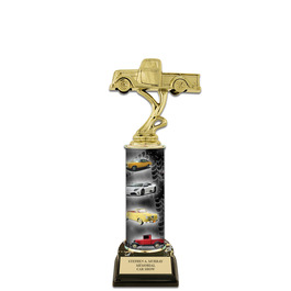 "11"" Black HS Base Award Trophy w/ Custom Column"