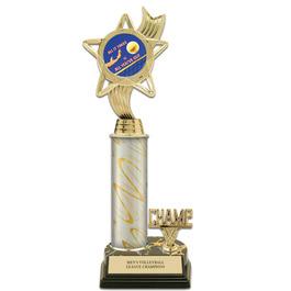 "12"" Black HS Base Award Trophy w/ Trim & Insert Top"