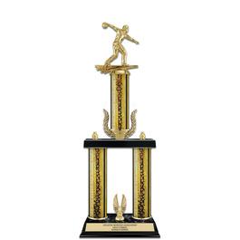 "20"" Black Finished Award Trophy w/ Wreath & Trim"