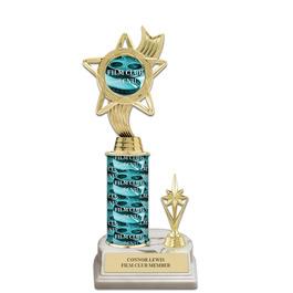 "10"" White HS Base Award Trophy w/ Trim, Insert Top & Custom Column"