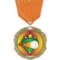 XBX Baseball Award Medal w/ Satin Neck Ribbon
