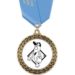 GFL Baseball Award Medal w/ Satin Neck Ribbon