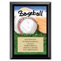"5"" x 7"" Full Color Baseball Black Wood Plaque"