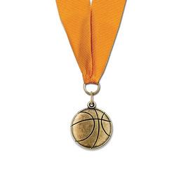 CX Basketball Award Medal w/ Any Grosgrain Neck Ribbon