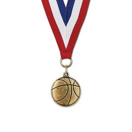 CX Basketball Award Medal w/ Red/White/Blue or Year Grosgrain Neck Ribbon