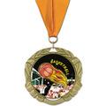 XBX Basketball Award Medal w/ Grosgrain Neck Ribbon