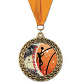 GFL Basketball Award Medal w/ Grosgrain Neck Ribbon