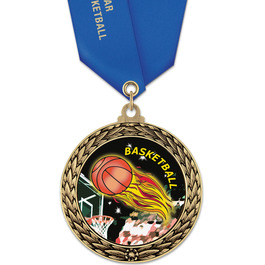 GFL Basketball Award Medal w/ Satin Neck Ribbon