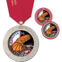 GEM Basketball Award Medal w/ Any Satin Neck Ribbon