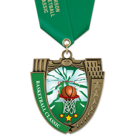 MS14 Mega Shield Basketball Award Medal w/ Any Satin Neck Ribbon