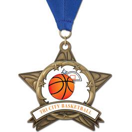 AS14 All Star Basketball Award Medal w/ Any Grosgrain Neck Ribbon