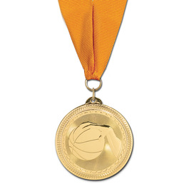 BL Basketball Award Medal w/ Grosgrain Neck Ribbon