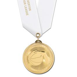 BL Basketball Award Medal w/ Satin Neck Ribbon